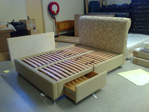 Posture Slat Special Upholsterd Design with Drawers and Headboard.